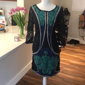 Anthropologie lace and textured dress